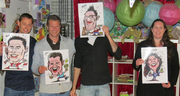Groep met karikaturen